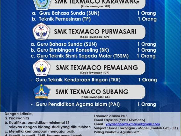 LOWONGAN GURU TKRO SMK Texmaco Pemalang
